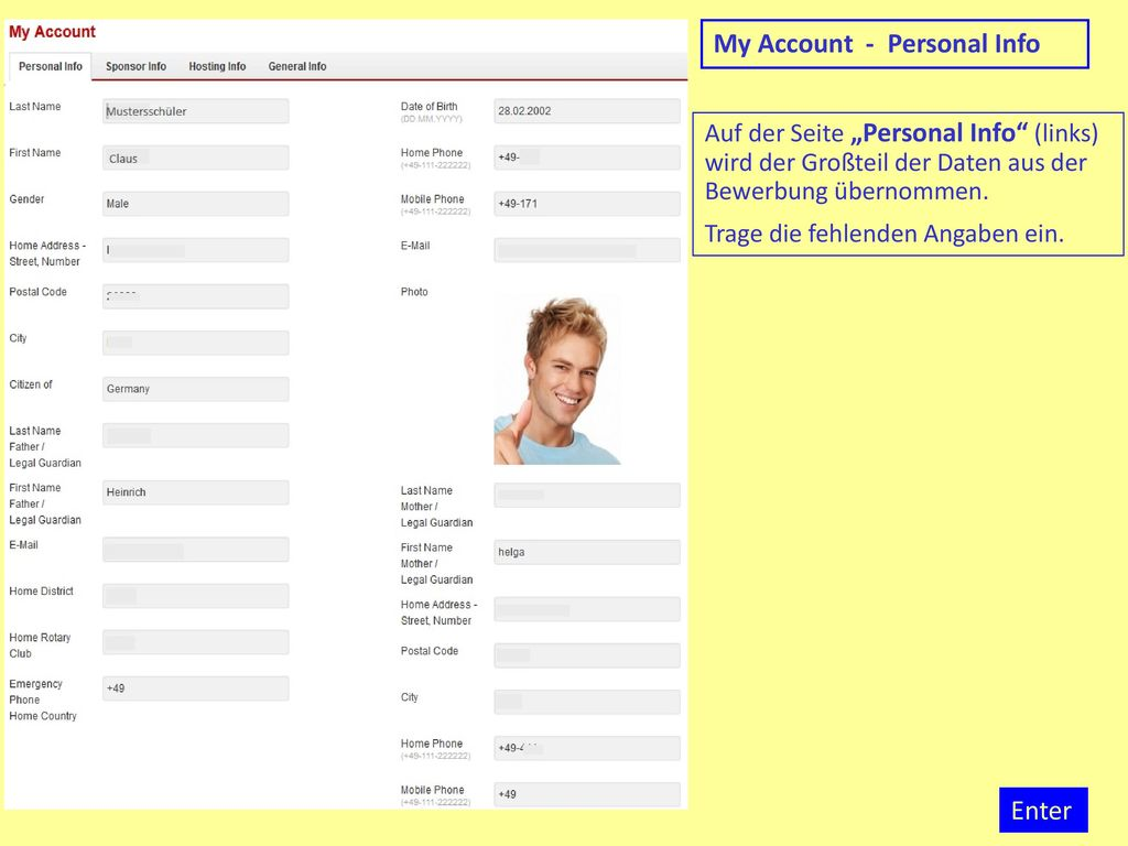 My Account - Personal Info