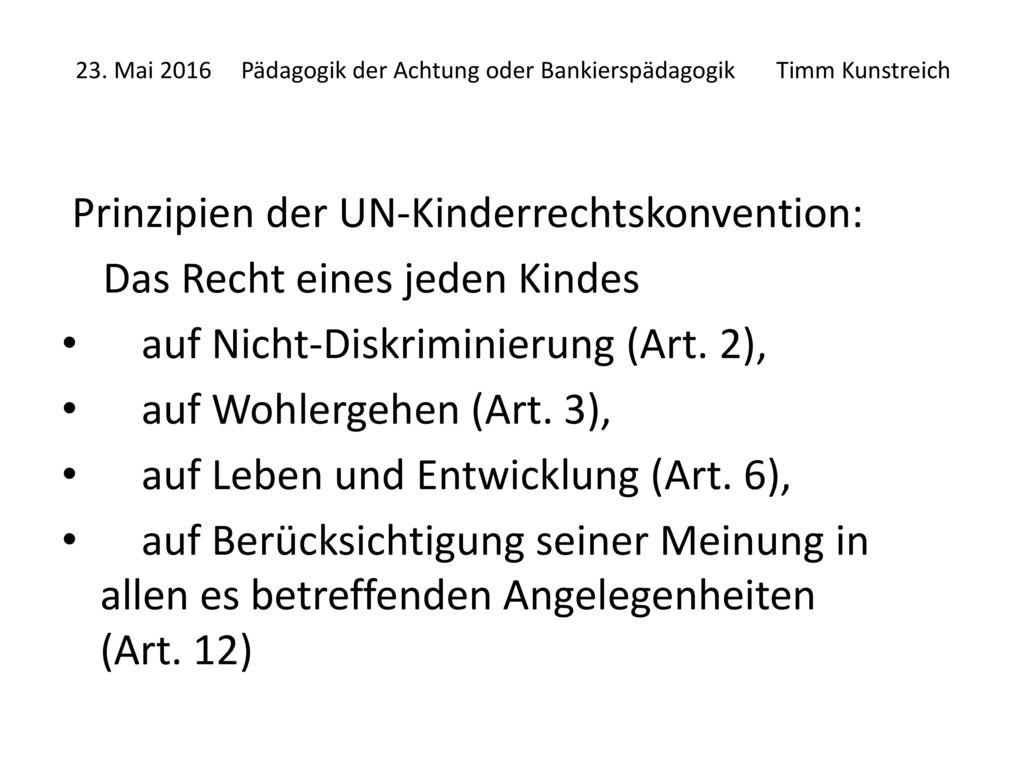 Prinzipien der UN-Kinderrechtskonvention: Das Recht eines jeden Kindes