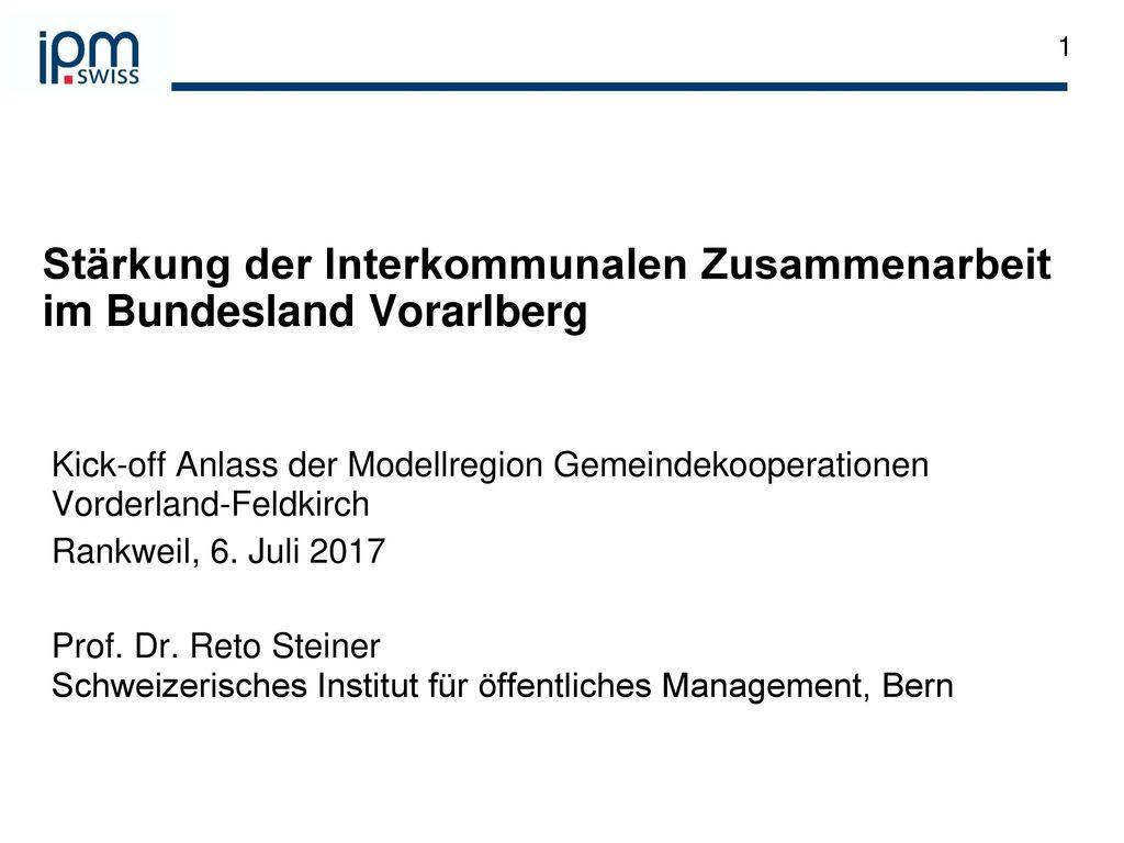 Stärkung der Interkommunalen Zusammenarbeit im Bundesland Vorarlberg