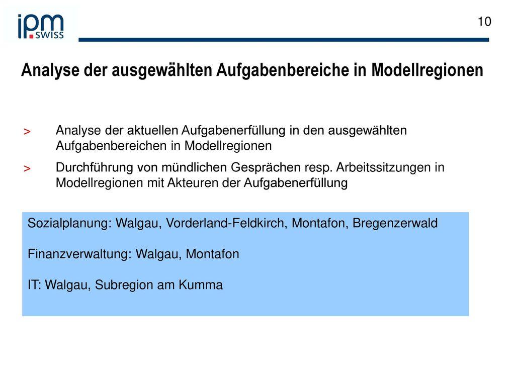 Analyse der ausgewählten Aufgabenbereiche in Modellregionen