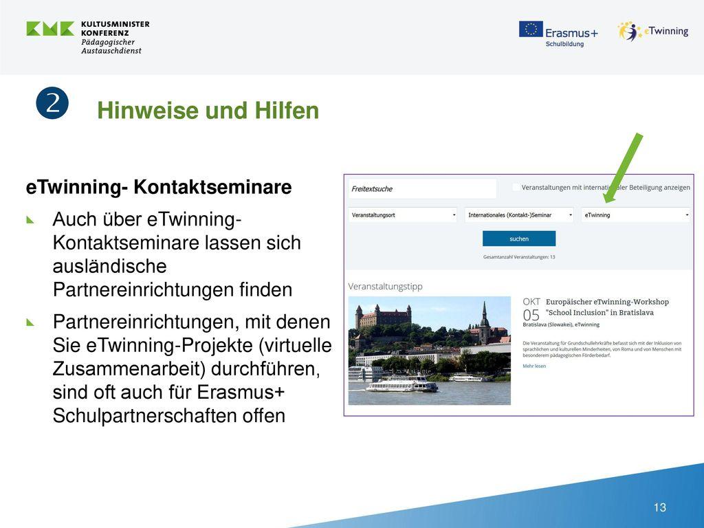  Hinweise und Hilfen eTwinning- Kontaktseminare