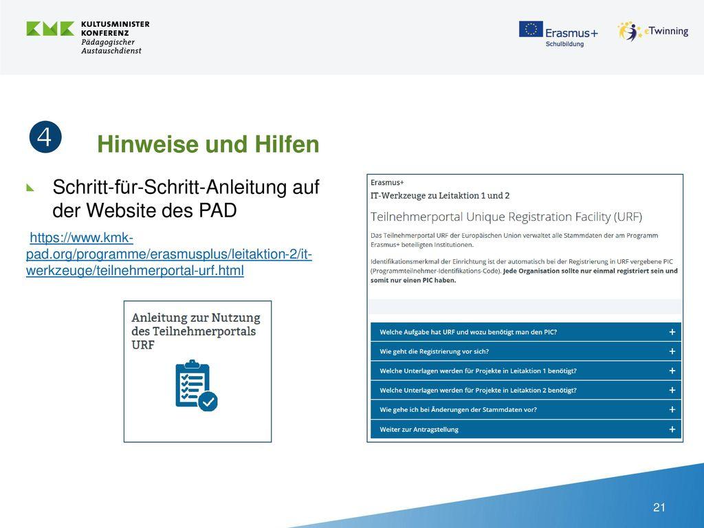  Hinweise und Hilfen Schritt-für-Schritt-Anleitung auf der Website des PAD.
