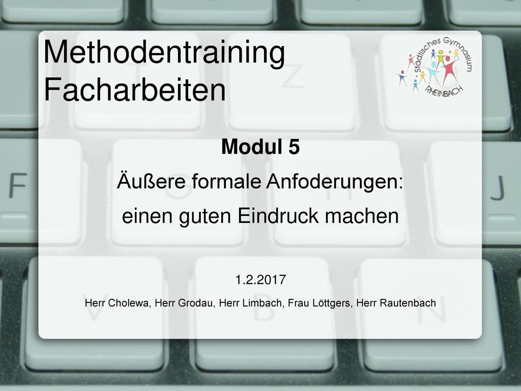 Methodentraining Facharbeiten