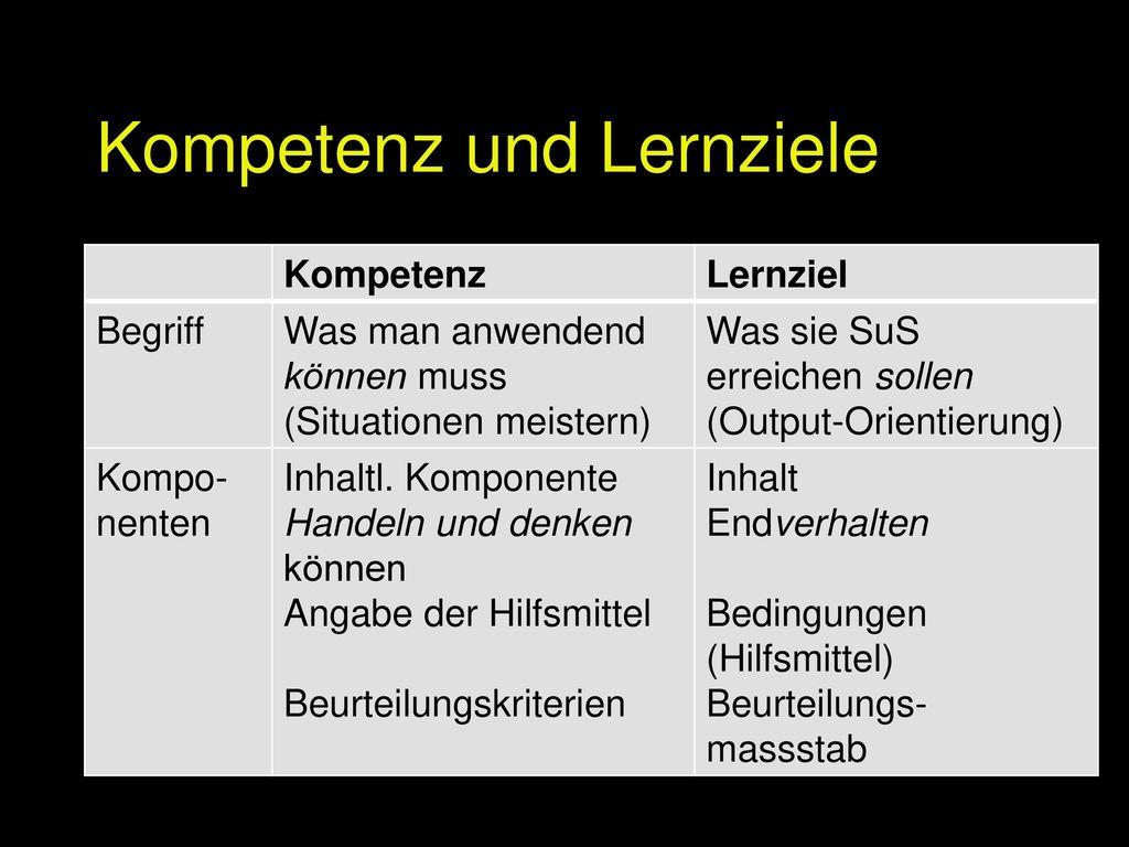 Kompetenz und Lernziele