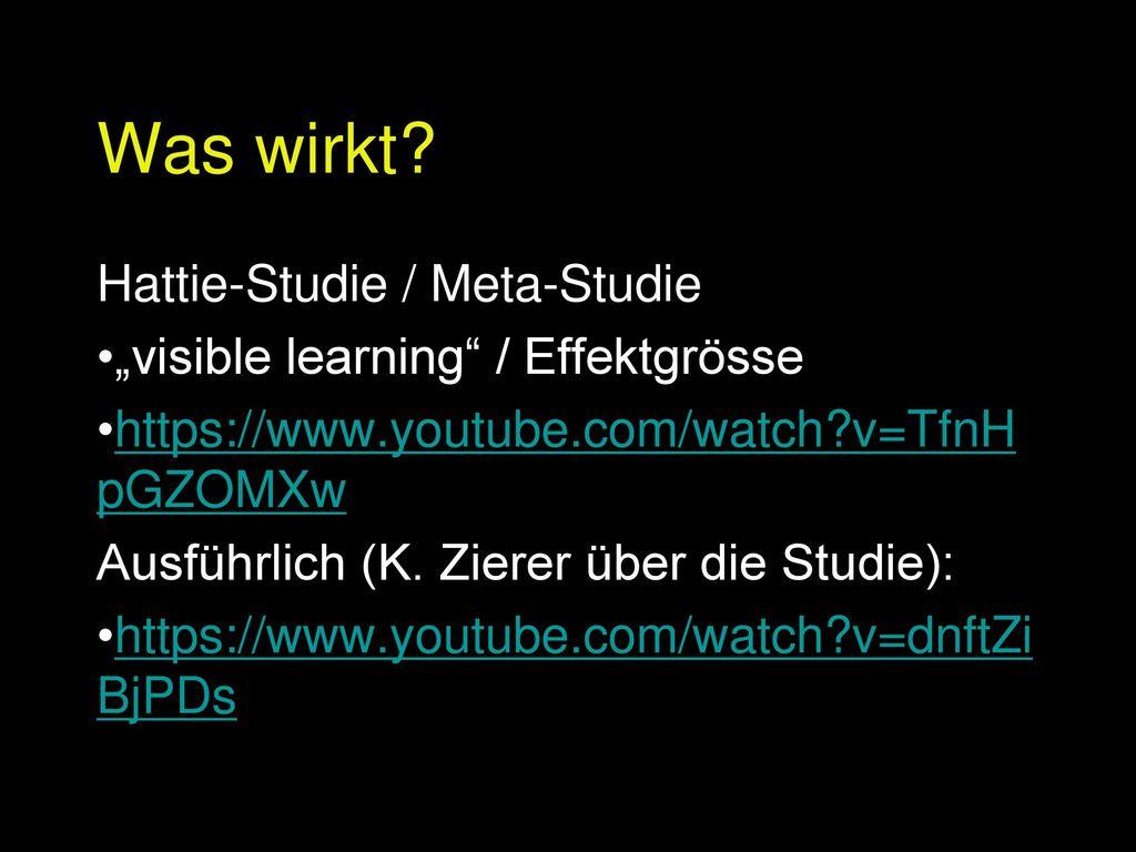 Was wirkt Hattie-Studie / Meta-Studie