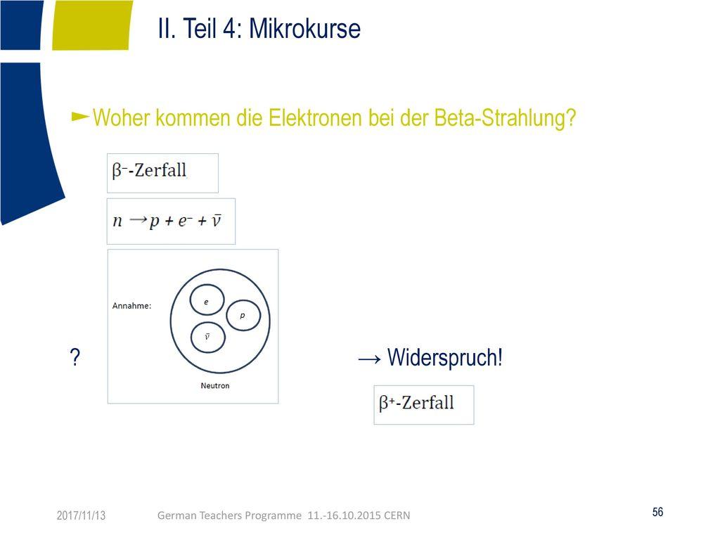 II. Teil 4: Mikrokurse Bestimmung von Teilchenmassen 2017/11/13