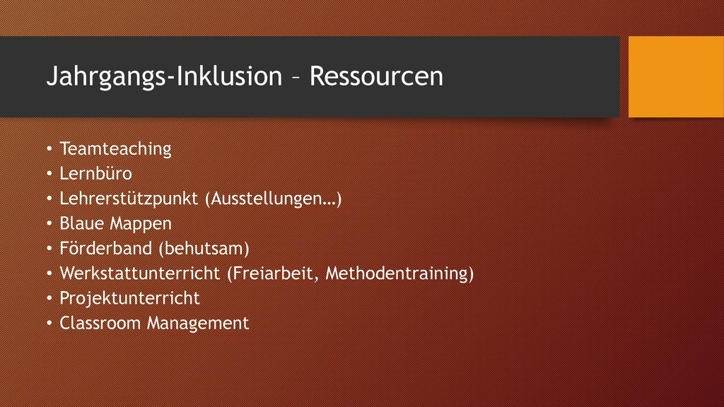 Jahrgangs-Inklusion – Ressourcen