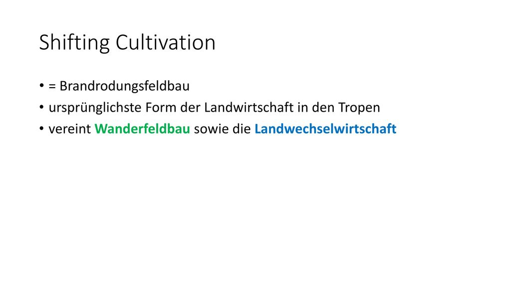 Shifting Cultivation = Brandrodungsfeldbau