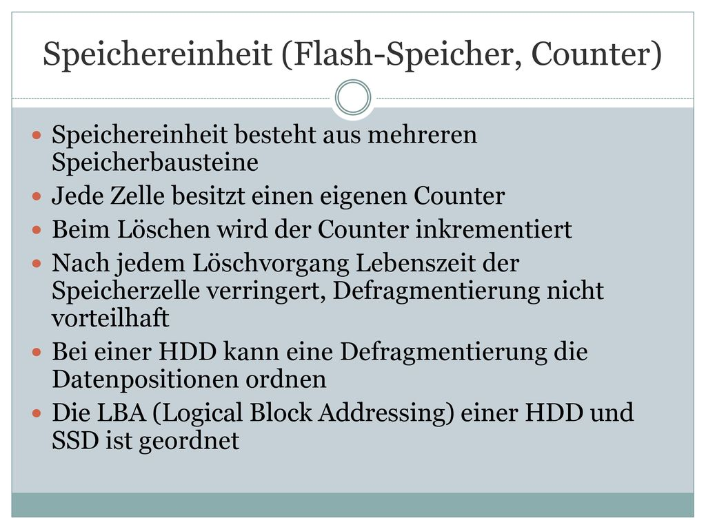 Speichereinheit (Flash-Speicher, Counter)