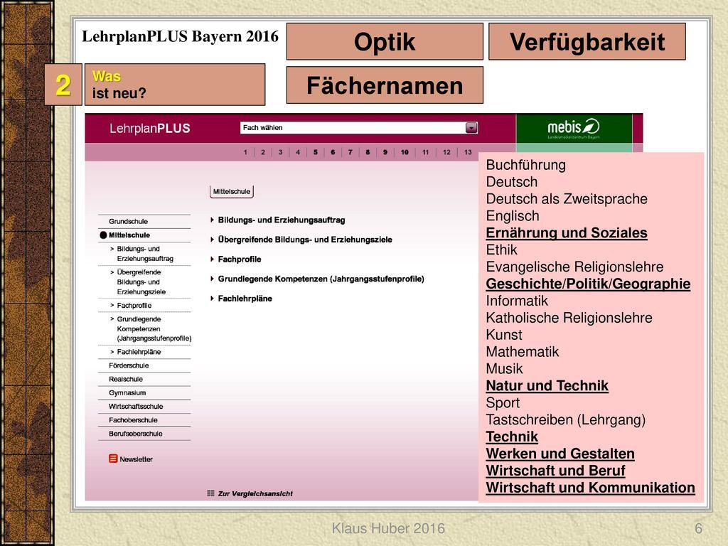 2 Optik Verfügbarkeit Fächernamen LehrplanPLUS Bayern 2016 Was