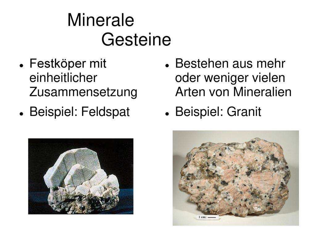 Minerale Gesteine Festköper mit einheitlicher Zusammensetzung