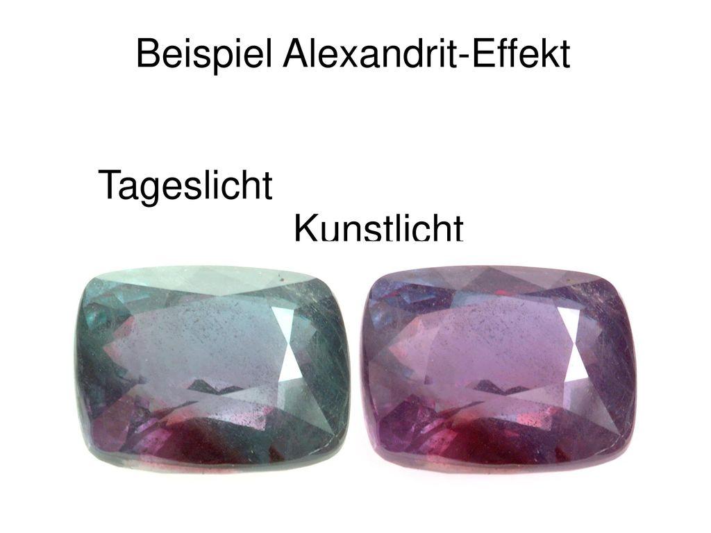 Beispiel Alexandrit-Effekt Tageslicht Kunstlicht