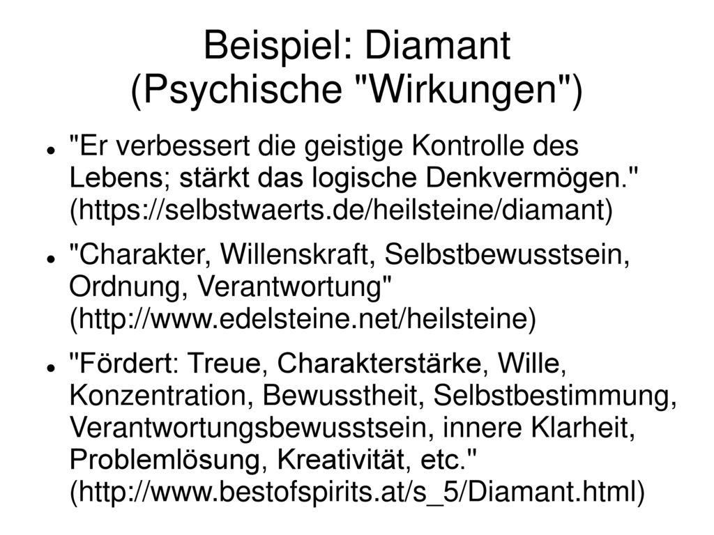 Beispiel: Diamant (Psychische Wirkungen )