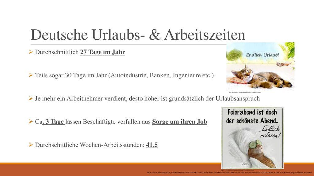 Deutsche Urlaubs- & Arbeitszeiten