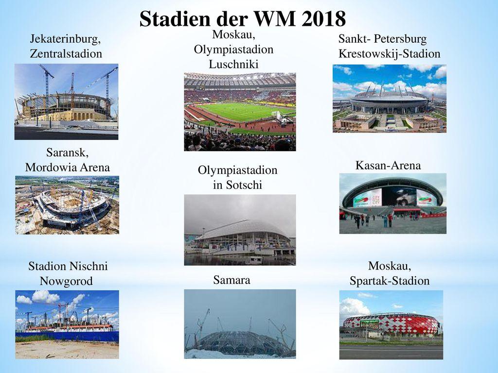 Stadien der WM 2018 Moskau, Olympiastadion Luschniki Jekaterinburg,