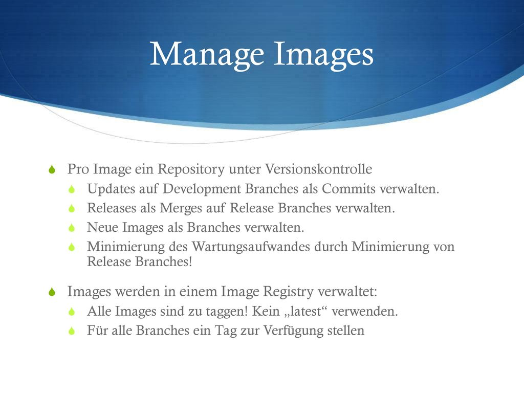 Manage Images Pro Image ein Repository unter Versionskontrolle