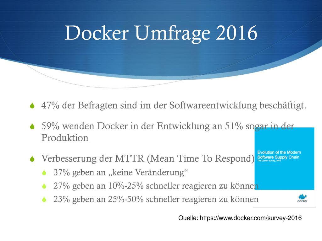 Docker Umfrage 2016 47% der Befragten sind im der Softwareentwicklung beschäftigt.
