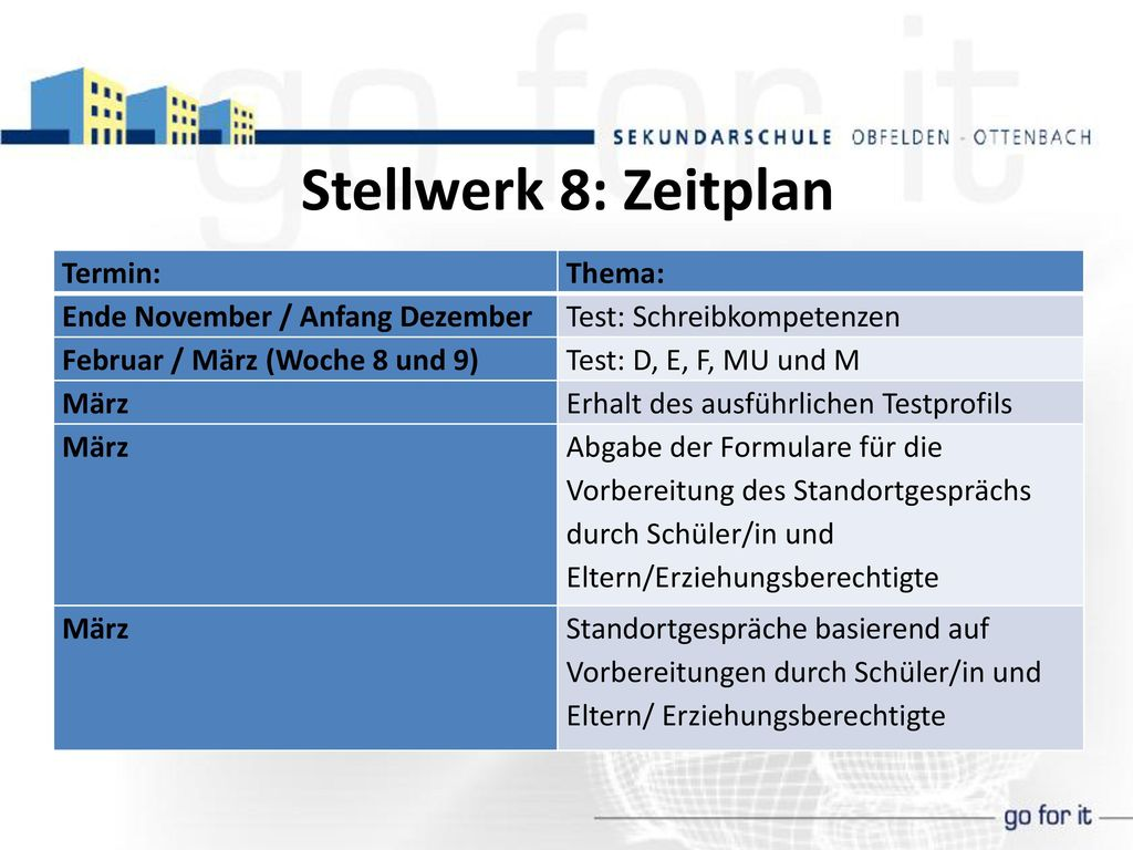 Stellwerk 8: Zeitplan Termin: Thema: Ende November / Anfang Dezember