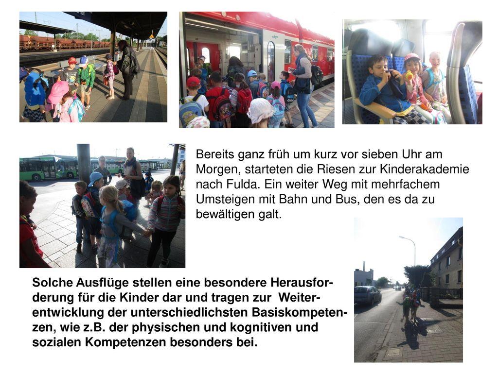 Bereits ganz früh um kurz vor sieben Uhr am Morgen, starteten die Riesen zur Kinderakademie nach Fulda. Ein weiter Weg mit mehrfachem Umsteigen mit Bahn und Bus, den es da zu bewältigen galt.