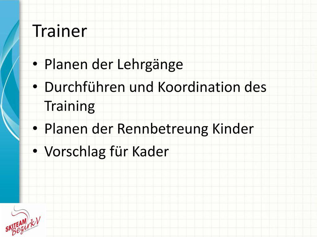 Trainer Planen der Lehrgänge Durchführen und Koordination des Training