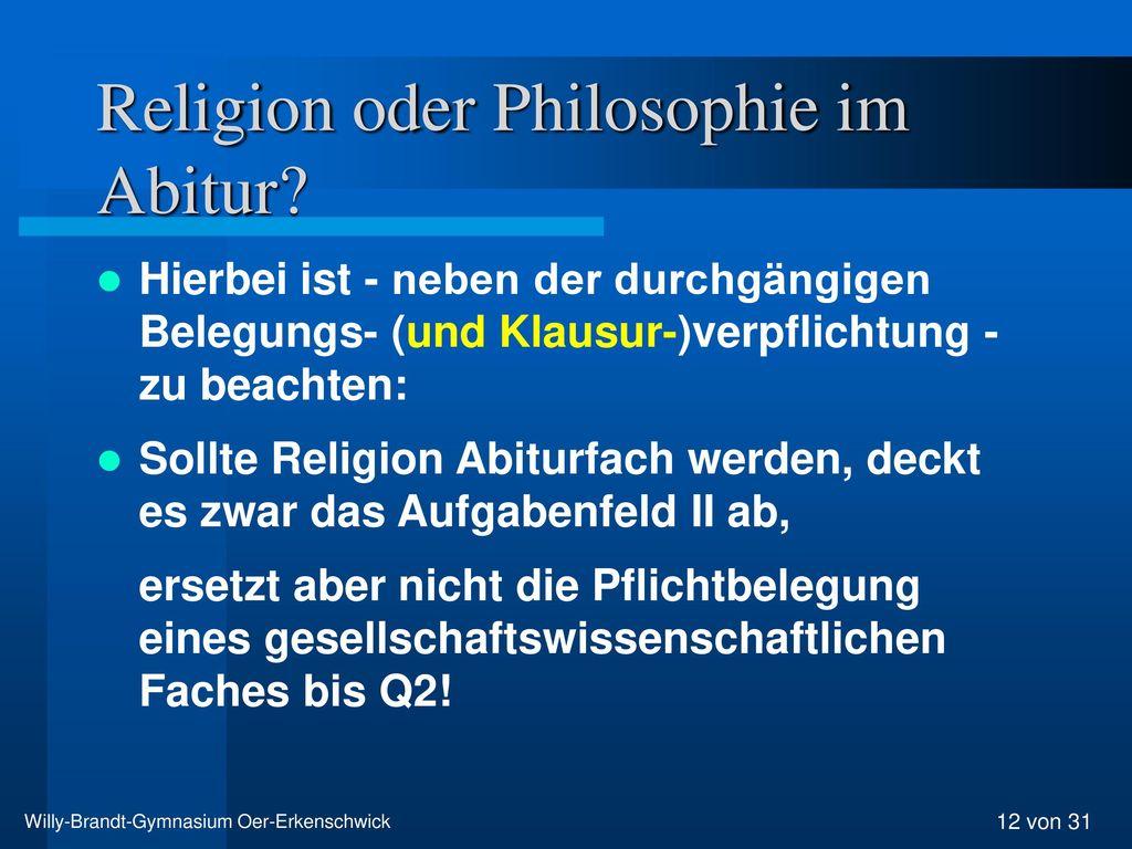 Religion oder Philosophie im Abitur