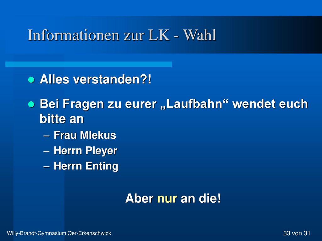 Informationen zur LK - Wahl