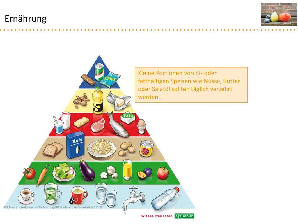 Ernährung Kleine Portionen von öl- oder fetthaltigen Speisen wie Nüsse, Butter oder Salatöl sollten täglich verzehrt werden.