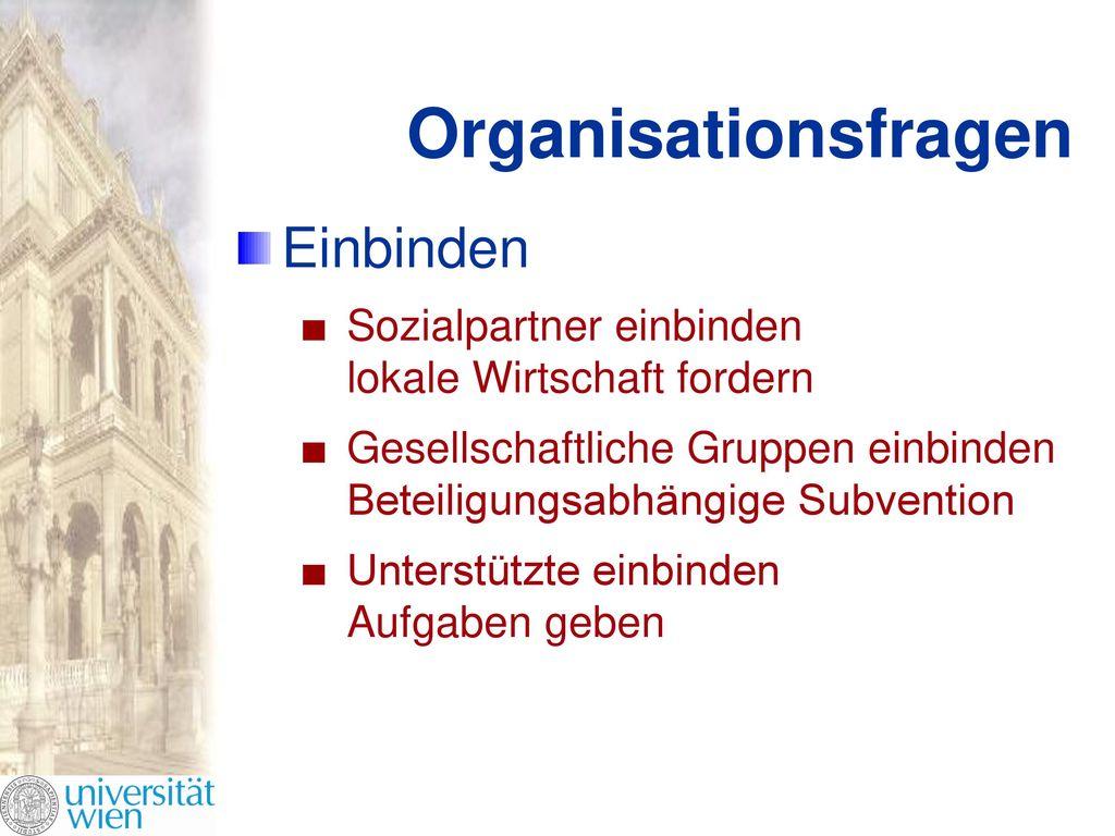 Organisationsfragen Einbinden