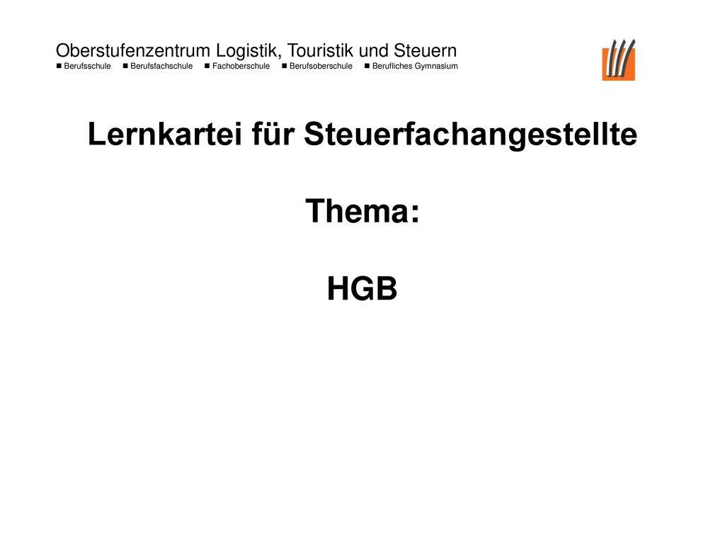 Lernkartei für Steuerfachangestellte Thema: HGB