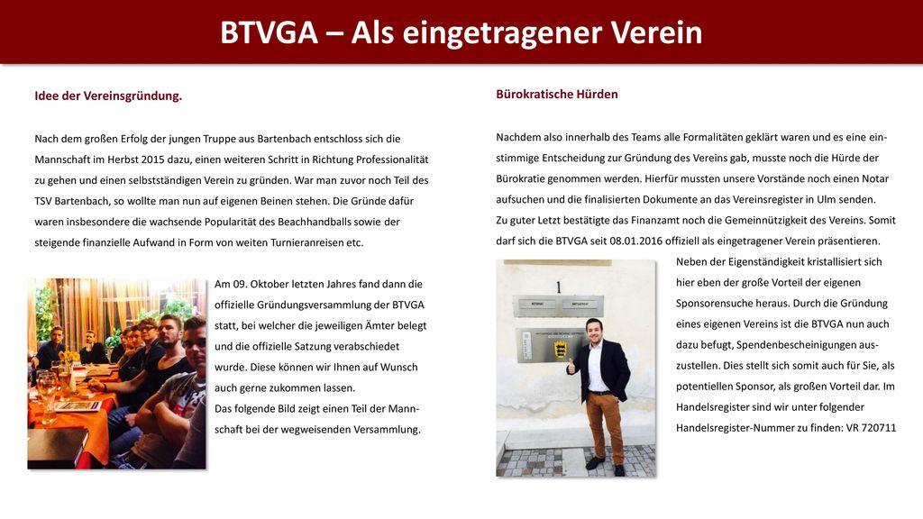 BTVGA – Als eingetragener Verein