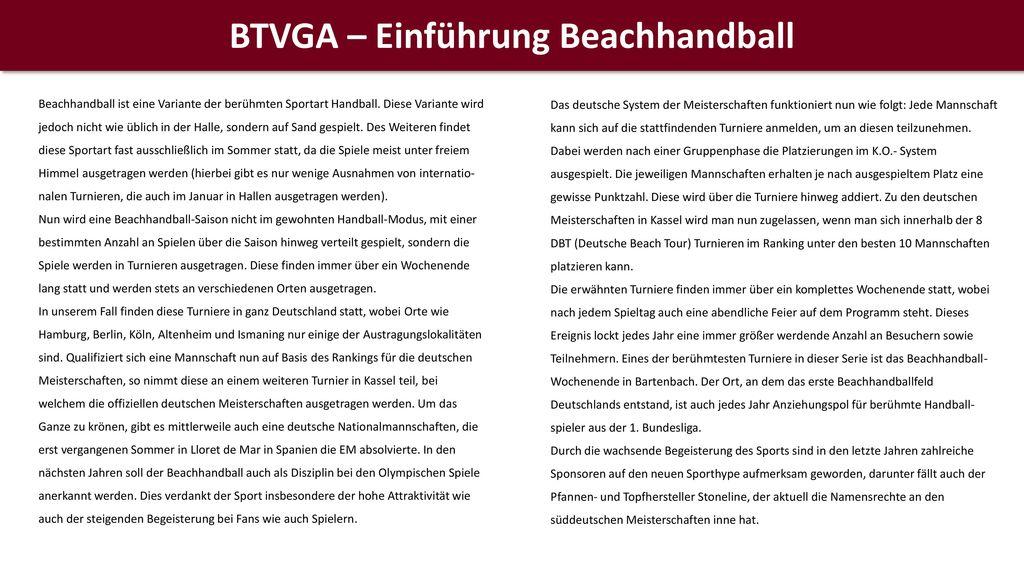 BTVGA – Einführung Beachhandball