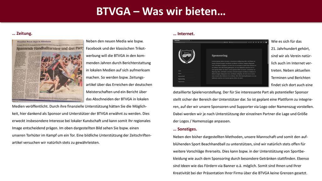 BTVGA – Was wir bieten… … Internet. … Zeitung. … Sonstiges.