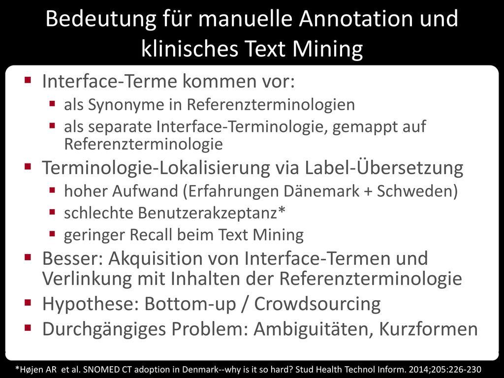 Bedeutung für manuelle Annotation und klinisches Text Mining