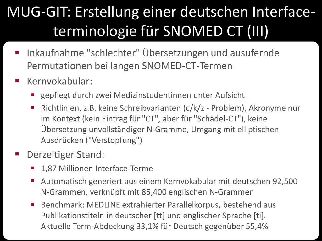 MUG-GIT: Erstellung einer deutschen Interface-terminologie für SNOMED CT (III)