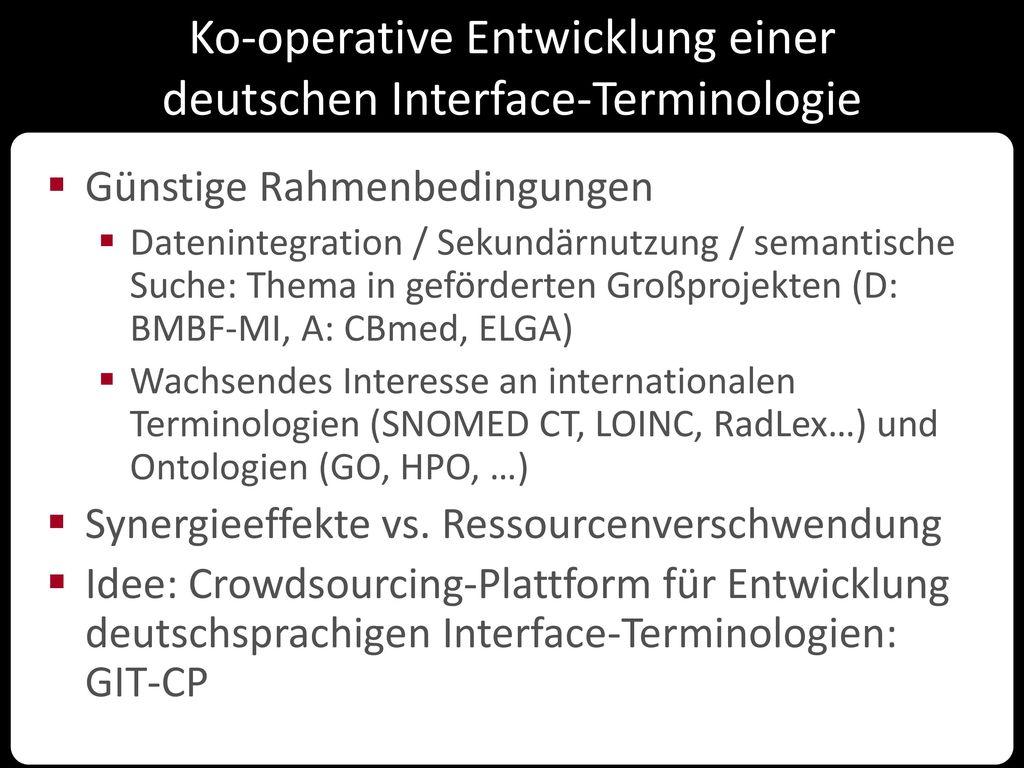 Ko-operative Entwicklung einer deutschen Interface-Terminologie