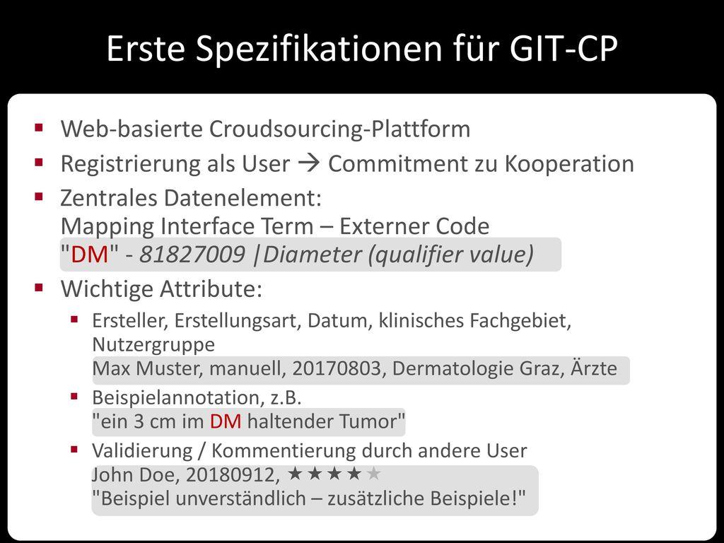Erste Spezifikationen für GIT-CP