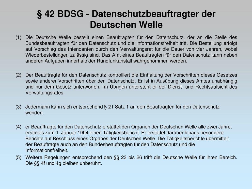§ 42 BDSG - Datenschutzbeauftragter der Deutschen Welle