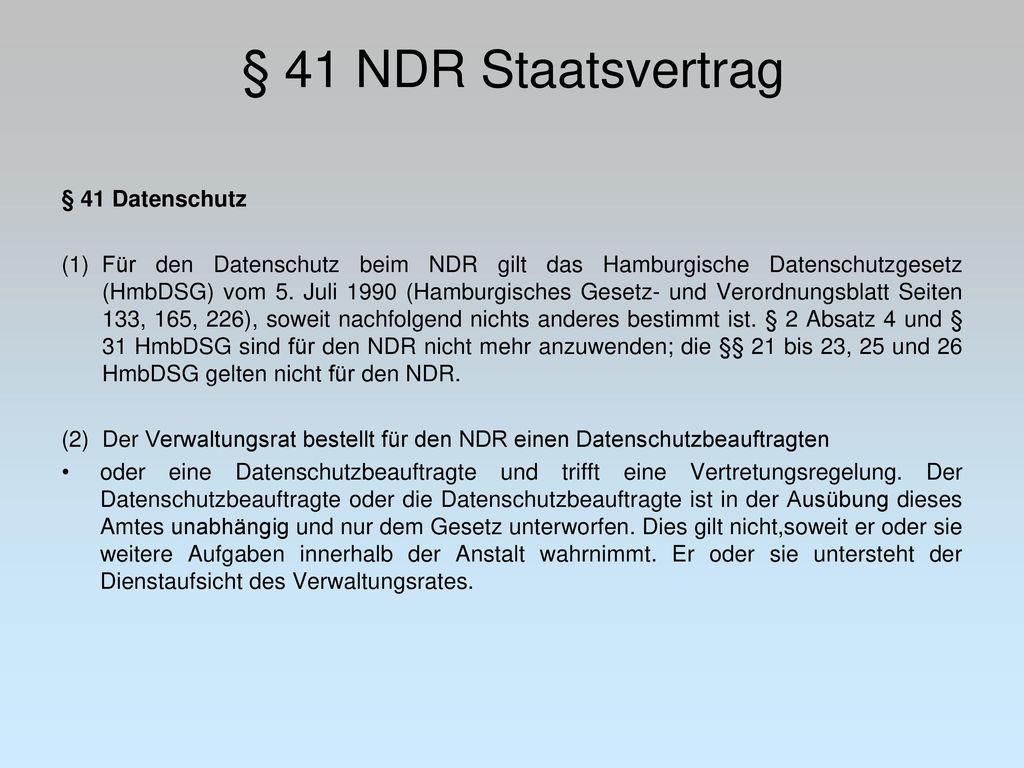 § 41 NDR Staatsvertrag § 41 Datenschutz