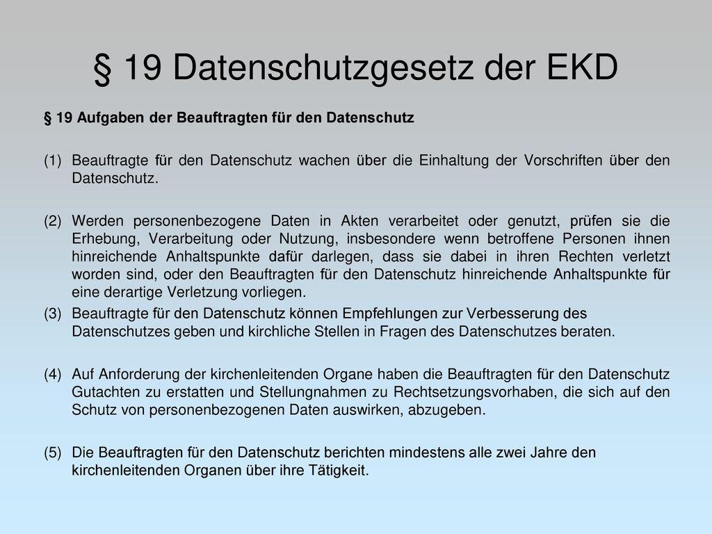 § 19 Datenschutzgesetz der EKD