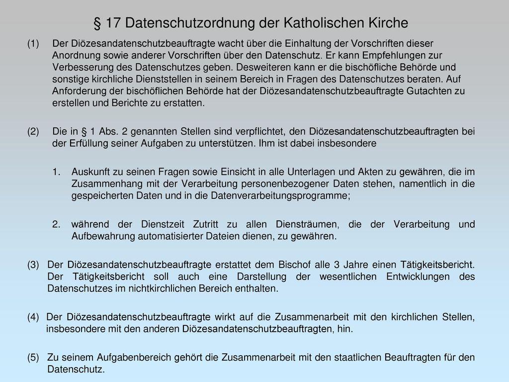§ 17 Datenschutzordnung der Katholischen Kirche