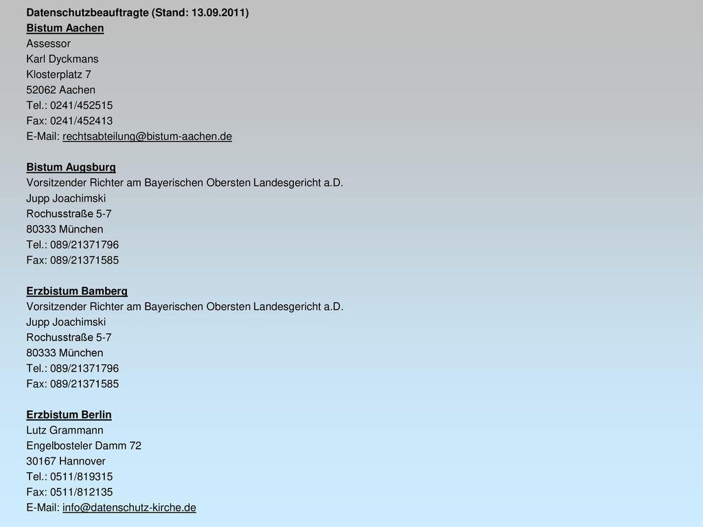 Datenschutzbeauftragte (Stand: 13.09.2011)
