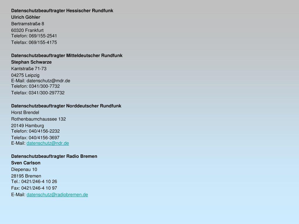 Datenschutzbeauftragter Hessischer Rundfunk