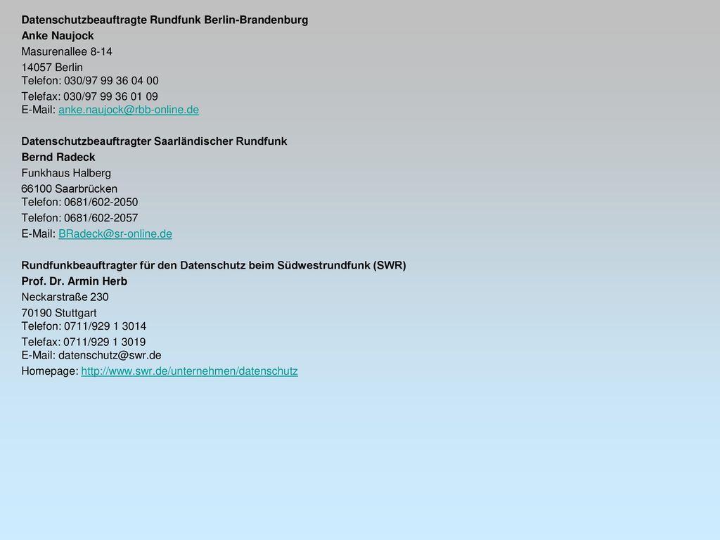 Datenschutzbeauftragte Rundfunk Berlin-Brandenburg