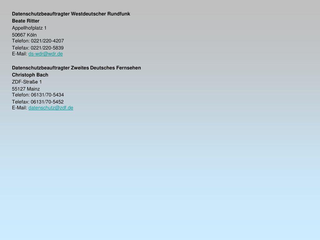 Datenschutzbeauftragter Westdeutscher Rundfunk
