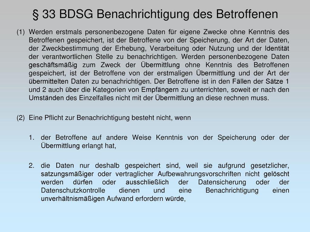 § 33 BDSG Benachrichtigung des Betroffenen
