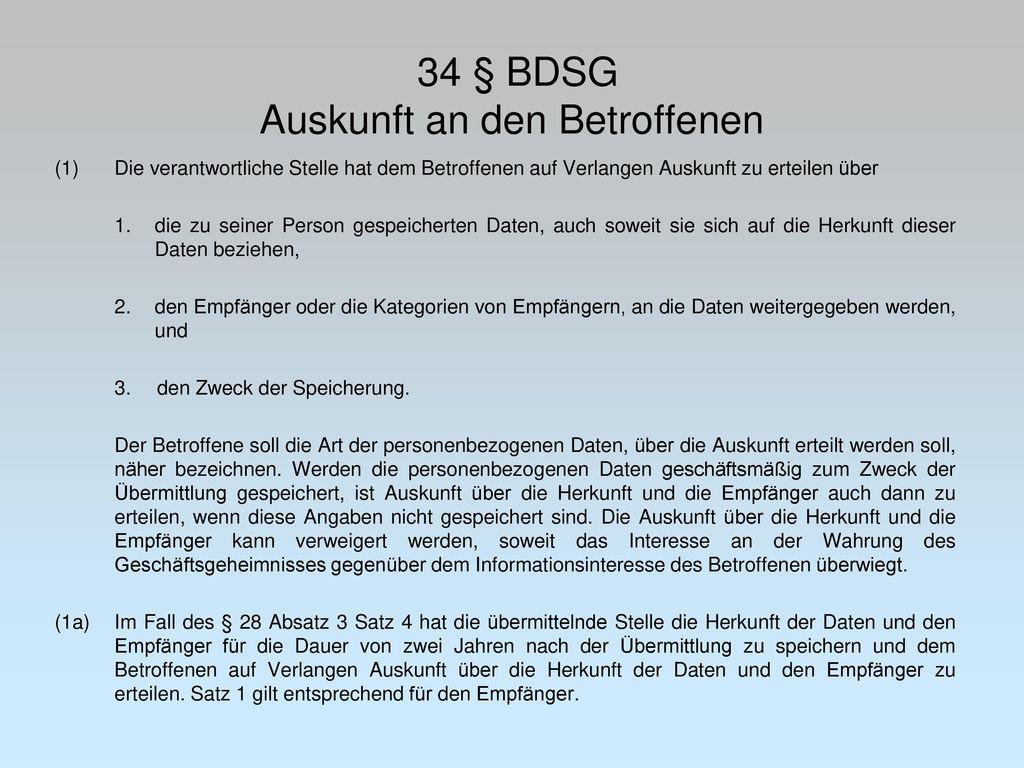 34 § BDSG Auskunft an den Betroffenen