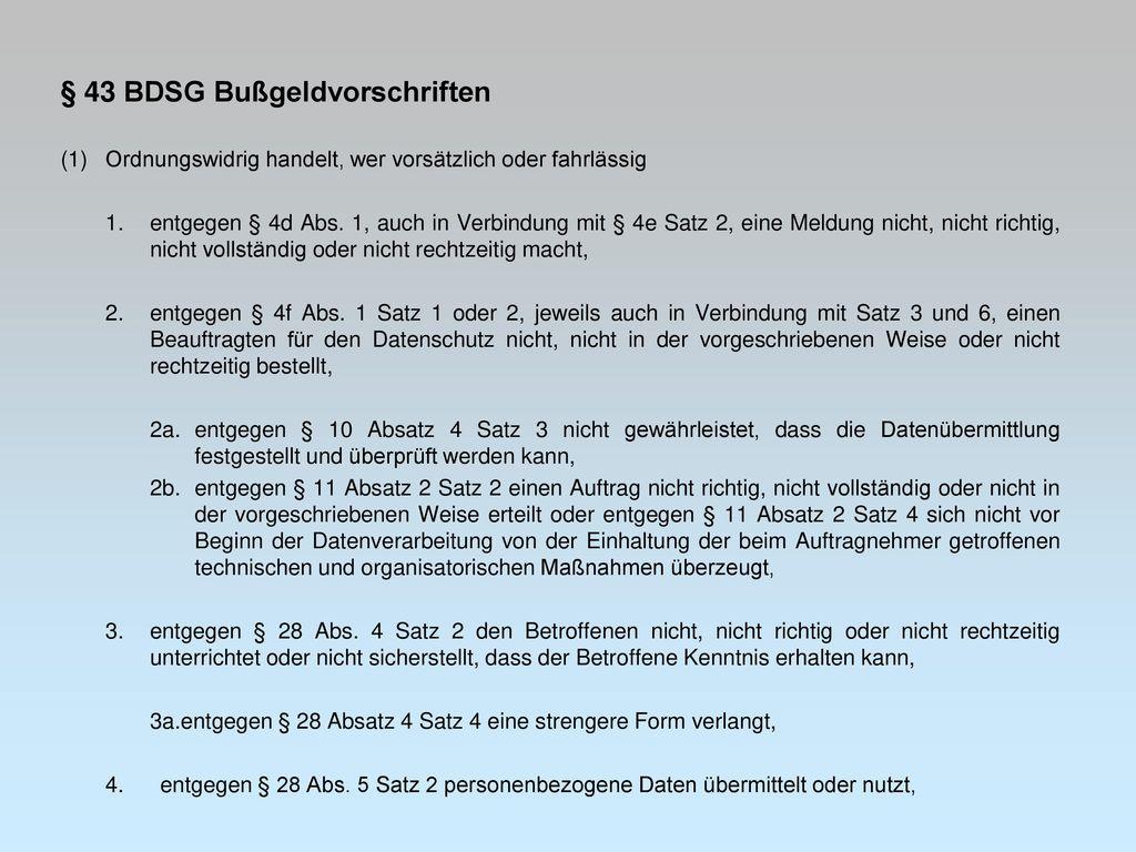§ 43 BDSG Bußgeldvorschriften
