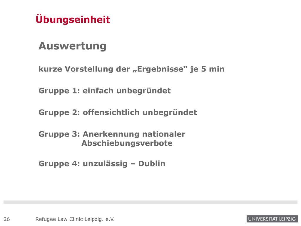"""Auswertung Übungseinheit kurze Vorstellung der """"Ergebnisse je 5 min"""