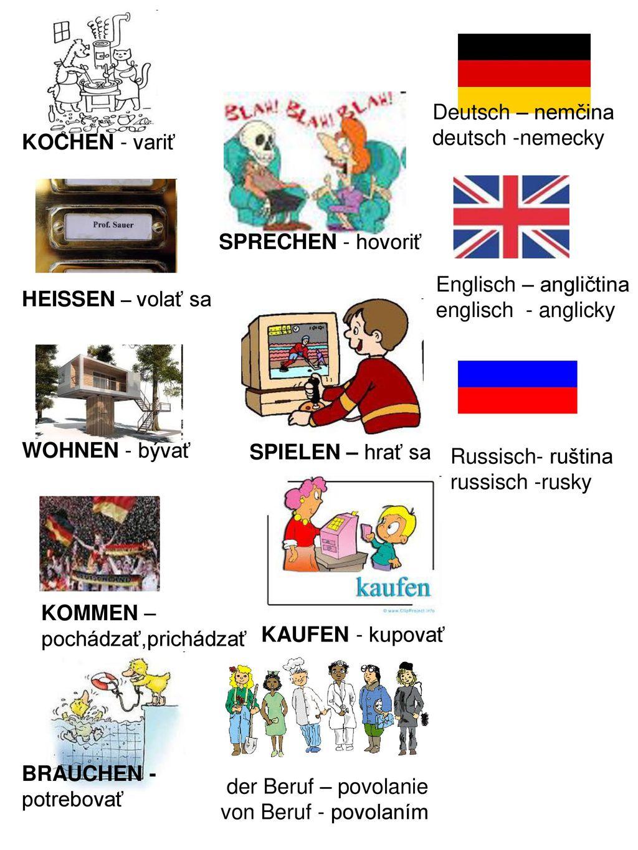 Deutsch – nemčina deutsch -nemecky. KOCHEN - variť. SPRECHEN - hovoriť. HEISSEN – volať sa. Englisch – angličtina.