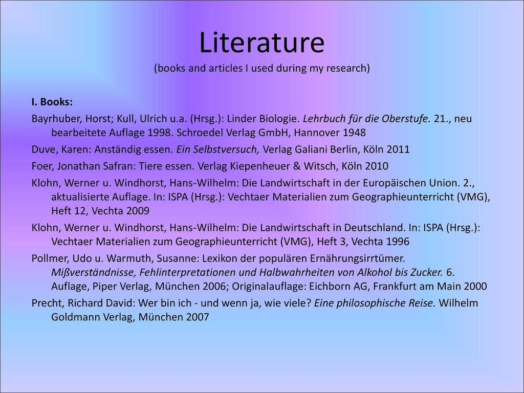 Literature (books and articles I used during my research)